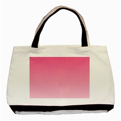 French Rose To Piggy Pink Gradient Twin Sided Black Tote Bag