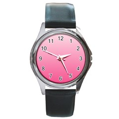 Piggy Pink To French Rose Gradient Round Metal Watch (silver Rim)