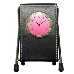 Piggy Pink To French Rose Gradient Stationery Holder Clock