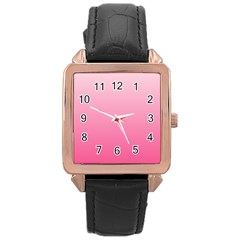 Piggy Pink To French Rose Gradient Rose Gold Leather Watch  by BestCustomGiftsForYou