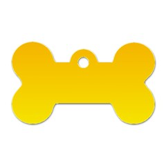 Chrome Yellow To Yellow Gradient Dog Tag Bone (two Sided)