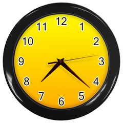 Yellow To Chrome Yellow Gradient Wall Clock (black) by BestCustomGiftsForYou