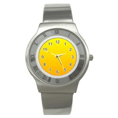 Yellow To Chrome Yellow Gradient Stainless Steel Watch (unisex)