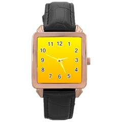Yellow To Chrome Yellow Gradient Rose Gold Leather Watch