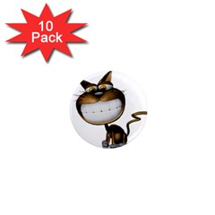 Funny Cat 1  Mini Button Magnet (10 Pack) by cutepetshop