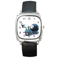 Funny Snail Square Leather Watch