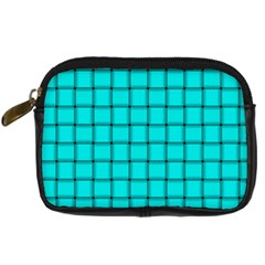 Cyan Weave Digital Camera Leather Case