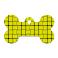 Yellow Weave Dog Tag Bone (one Sided)