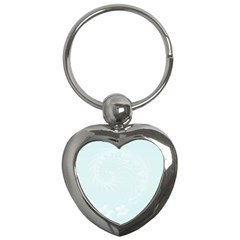 Pastel Blue Abstract Flowers Key Chain (heart)