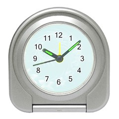 Pastel Blue Abstract Flowers Desk Alarm Clock