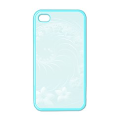 Pastel Blue Abstract Flowers Apple Iphone 4 Case (color) by BestCustomGiftsForYou
