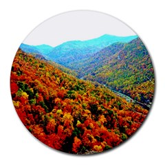 Through The Mountains 8  Mouse Pad (round) by Majesticmountain