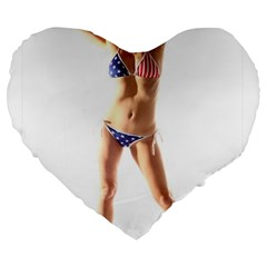 Usa Girl 19  Premium Heart Shape Cushion by hlehnerer