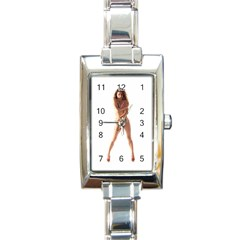 Usa Girl Rectangular Italian Charm Watch by hlehnerer