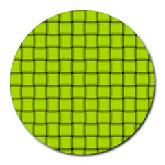 Fluorescent Yellow Weave 8  Mouse Pad (round)