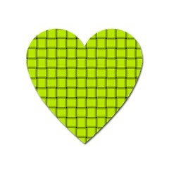 Fluorescent Yellow Weave Magnet (heart) by BestCustomGiftsForYou