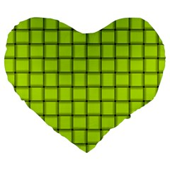 Fluorescent Yellow Weave 19  Premium Heart Shape Cushion