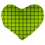 Fluorescent Yellow Weave 19  Premium Heart Shape Cushion Back