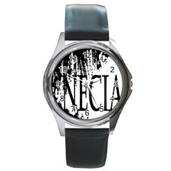 Logo Round Metal Watch (silver Rim)