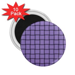 Light Pastel Purple Weave 2 25  Button Magnet (10 Pack) by BestCustomGiftsForYou