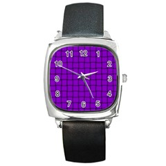 Dark Violet Weave Square Leather Watch