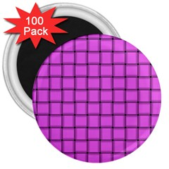 Ultra Pink Weave  3  Button Magnet (100 Pack) by BestCustomGiftsForYou