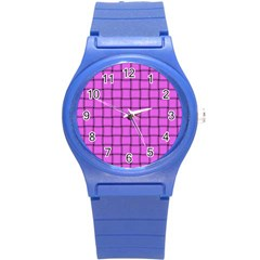 Ultra Pink Weave  Plastic Sport Watch (small) by BestCustomGiftsForYou