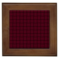 Dark Scarlet Weave Framed Ceramic Tile by BestCustomGiftsForYou