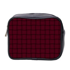 Dark Scarlet Weave Mini Travel Toiletry Bag (two Sides)