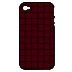 Dark Scarlet Weave Apple Iphone 4/4s Hardshell Case (pc+silicone) by BestCustomGiftsForYou