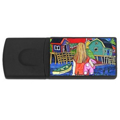 Blue Door And Stuffed Bunny 4gb Usb Flash Drive (rectangle) by reillysart