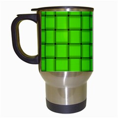 Bright Green Weave Travel Mug (white) by BestCustomGiftsForYou