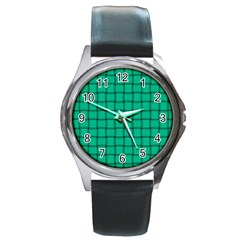 Caribbean Green Weave Round Metal Watch (silver Rim) by BestCustomGiftsForYou