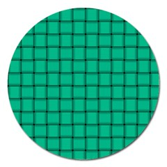 Caribbean Green Weave Magnet 5  (round) by BestCustomGiftsForYou