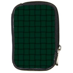 Dark Green Weave Compact Camera Leather Case by BestCustomGiftsForYou
