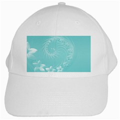 Cyan Abstract Flowers White Baseball Cap
