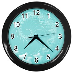 Cyan Abstract Flowers Wall Clock (black) by BestCustomGiftsForYou
