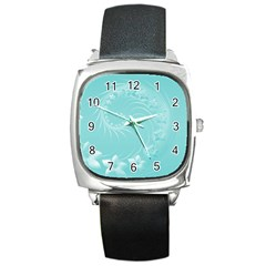 Cyan Abstract Flowers Square Leather Watch by BestCustomGiftsForYou