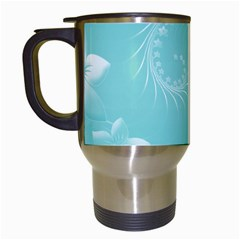 Cyan Abstract Flowers Travel Mug (white) by BestCustomGiftsForYou