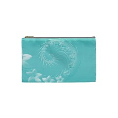 Cyan Abstract Flowers Cosmetic Bag (small) by BestCustomGiftsForYou