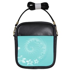 Cyan Abstract Flowers Girl s Sling Bag