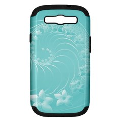Cyan Abstract Flowers Samsung Galaxy S Iii Hardshell Case (pc+silicone) by BestCustomGiftsForYou