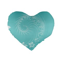 Cyan Abstract Flowers 16  Premium Heart Shape Cushion  by BestCustomGiftsForYou
