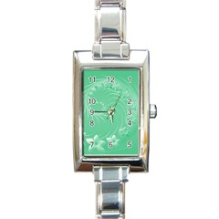 Light Green Abstract Flowers Rectangular Italian Charm Watch by BestCustomGiftsForYou