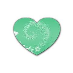 Light Green Abstract Flowers Drink Coasters (heart) by BestCustomGiftsForYou