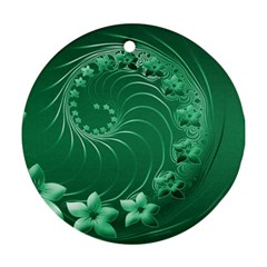 Green Abstract Flowers Round Ornament (two Sides) by BestCustomGiftsForYou