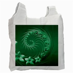 Green Abstract Flowers Recycle Bag (one Side)