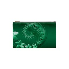 Green Abstract Flowers Cosmetic Bag (small) by BestCustomGiftsForYou