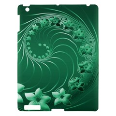 Green Abstract Flowers Apple Ipad 3/4 Hardshell Case by BestCustomGiftsForYou