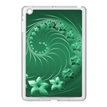 Green Abstract Flowers Apple iPad Mini Case (White) Front